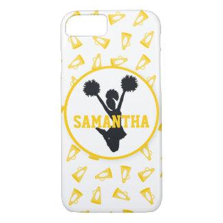 Gelbe Megaphone und Cheerleader personalisiert iPhone 8/7 Hülle