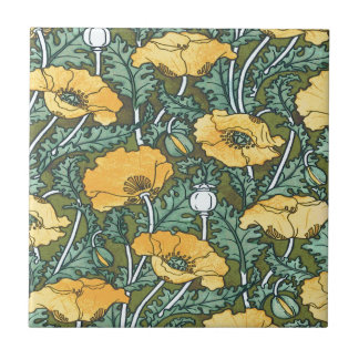 Gelbe Mohnblume Kleine Quadratische Fliese