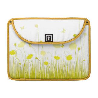 Gelbe Mohnblumen Rickshaw-Klappen-Hülse MacBook Pro Sleeve