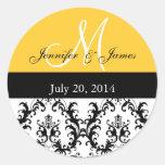 Gelbe Monogramm-Damast-Hochzeits-Aufkleber