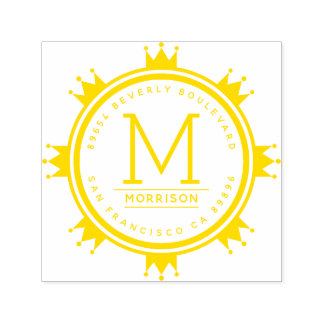 Gelbe Monogramm-Rücksendeadresse des Permastempel