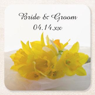 Gelbe Narzissen auf weißer Frühlings-Hochzeit Kartonuntersetzer Quadrat