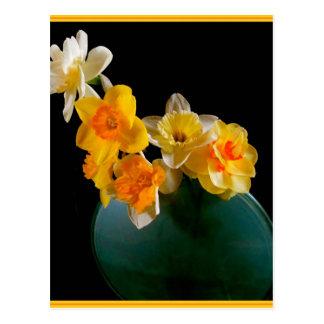 Gelbe Narzissen im Vasen-Entwurf Postkarte
