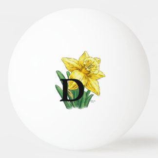 Gelbe Narzissen-personalisiertes Monogramm Ping-Pong Ball