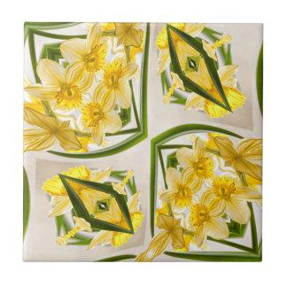 Gelbe Narzissen-Retro Art Kleine Quadratische Fliese