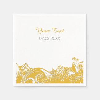 gelbe personalisierte Hochzeitsmit Serviette