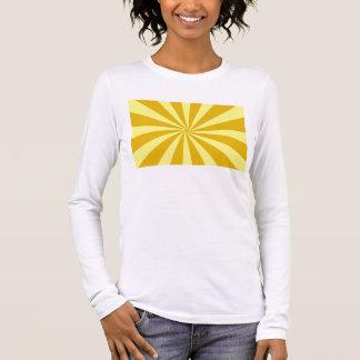 Gelbe Pinwheelsun-Strahlen Langarm T-Shirt