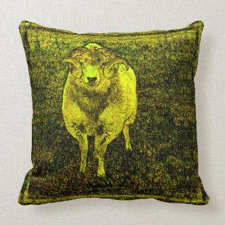 Gelbe RAM-Spirale-Horn-Vintage Art-Vorlagen-Kunst Kissen