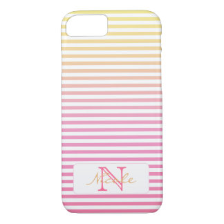 Gelbe rosa Steigung Stripes Monogramm iPhone 8/7 Hülle