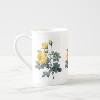 Gelbe Rose Redoute Knochen-China-Tasse Porzellantasse