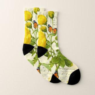 Gelbe Rose und Schmetterling Socken