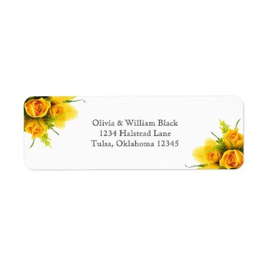 Gelbe Rosen auf Weiß - Adressen-Etiketten Rückversand-Adressaufkleber