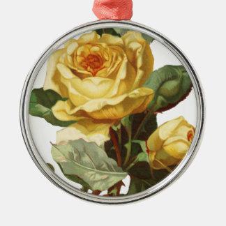 Gelbe Rosen-erstklassige runde Verzierung Rundes Silberfarbenes Ornament