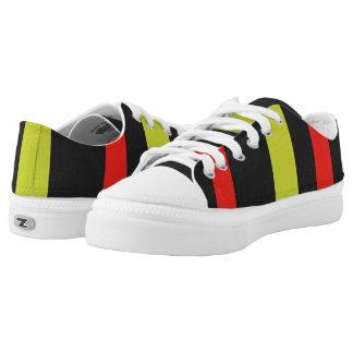 Gelbe rote schwarze Linie Muster Niedrig-geschnittene Sneaker