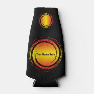 Gelbe rote wirbelnde Kreis-Sonnen mit Ihrem Namen Flaschenkühler