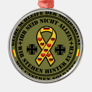 Gelbe Schleife der Solidarität für unsere Soldaten Rundes Silberfarbenes Ornament