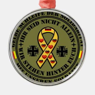 Gelbe Schleife der Solidarität für unsere Soldaten Silbernes Ornament