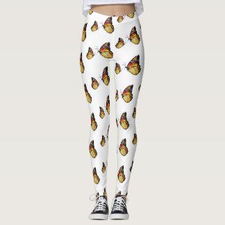 Gelbe Schmetterlings-Kunst-Gewohnheits-Gamaschen Leggings