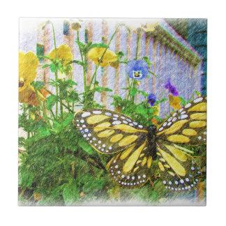 Gelbe Schmetterlings-und Viola-Blumen Keramikfliese