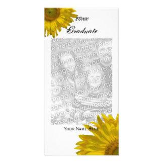 Gelbe Sonnenblume-Abschluss-Mitteilung Foto Grußkarte