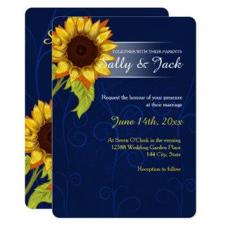 Gelbe Sonnenblume/blaue Hintergrundhochzeit Karte