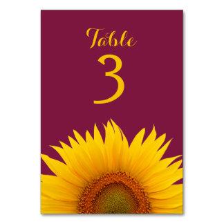 Gelbe Sonnenblume-Blumen-Burgunder-Hochzeit Karte