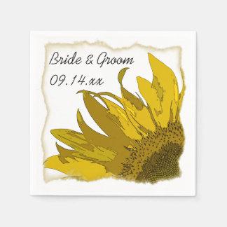 Gelbe Sonnenblume-Ecken-Hochzeit Serviette