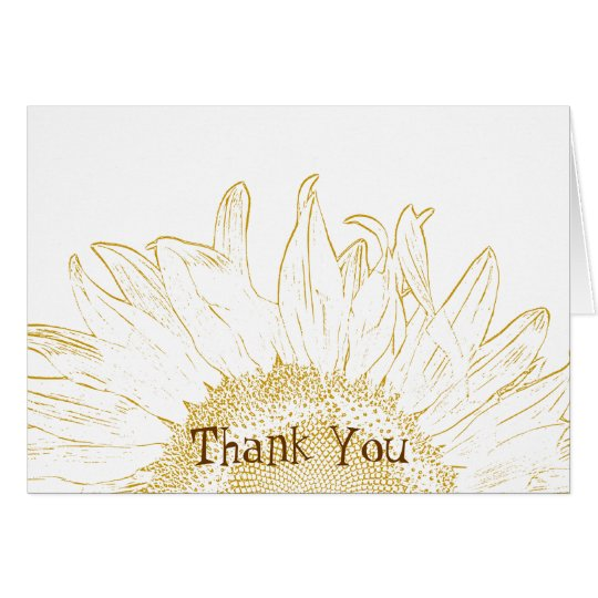 Gelbe Sonnenblume-Grafik danken Ihnen Mitteilungskarte