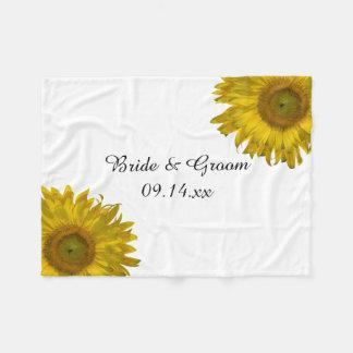 Gelbe Sonnenblume-Hochzeit Fleecedecke