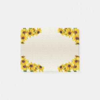 Gelbe Sonnenblume-Rahmen Posten-it® Anmerkungen Post-it Klebezettel
