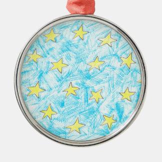 Gelbe Sternchen-Vereinbarung Silbernes Ornament
