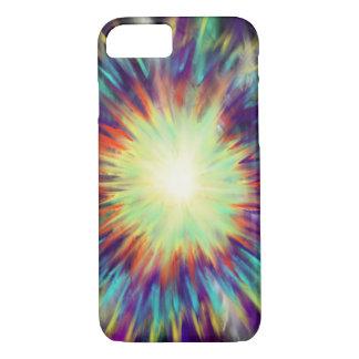 Gelbe Sternexplosion auf Aqua-blauem Indie iPhone 8/7 Hülle