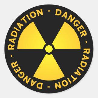 Gelbe Strahlungs-Warnung Runder Aufkleber
