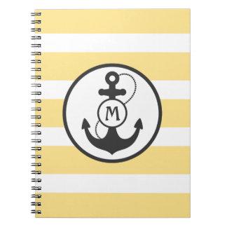 Gelbe Streifen mit Anker und Monogramm Spiral Notizblock