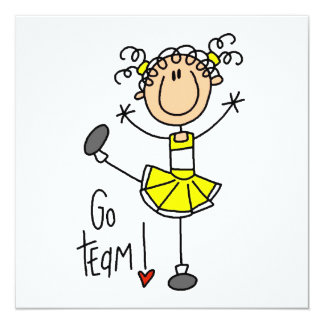 Gelbe Strichmännchen-Cheerleader-T - Shirts und Quadratische 13,3 Cm Einladungskarte