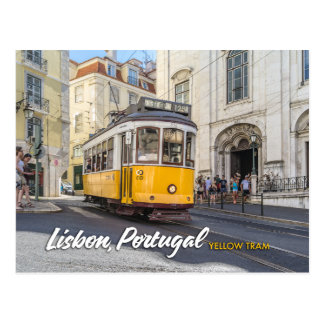 gelbe Tram in Lissabon, Portugal Postkarte