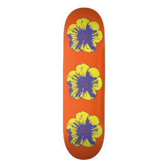 """Gelbe u. blaue Sechzigerjahre Blume8 1/2"""" Bedrucktes Skateboard"""