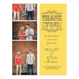 Gelbe u. graue Foto-Hochzeit danken Ihnen Postkarte