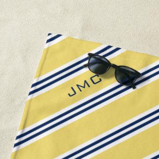gelbe und blaue Streifen des Monogramm-3-Letter Strandtuch
