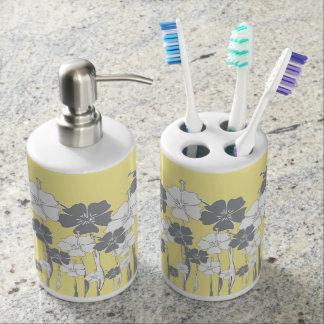 Gelbe und graue Blume Seifenspender & Zahnbürstenhalter