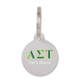 Gelbe und grüne Buchstaben AlphasigmaTau Haustiermarke