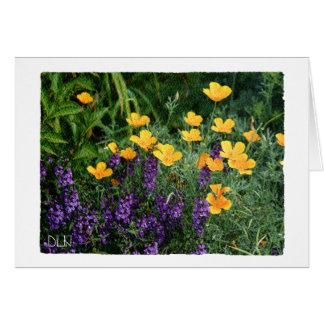 Gelbe und lila Blumen mit Blumen/Watercolor-Blick Karte