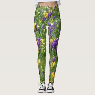 Gelbe und lila Krokusse Leggings