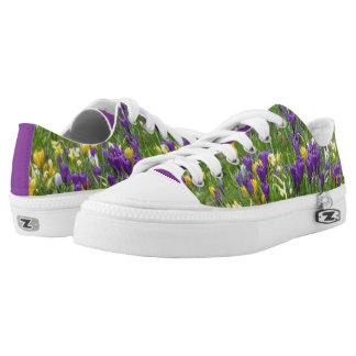 Gelbe und lila Krokusse Zipz niedrige Niedrig-geschnittene Sneaker