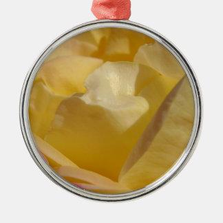 Gelbe und rosa Rose Rundes Silberfarbenes Ornament