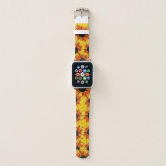 Gelbe und rote Sonnenblume-Garten-Blumen Apple Watch Armband
