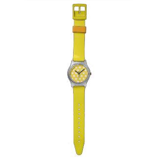 Gelbe und weiße Tupfenuhr Uhr