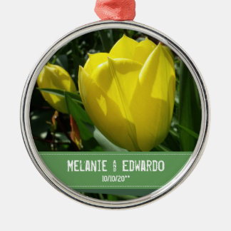 Gelbe Wedding Tulpe-Blumen Rundes Silberfarbenes Ornament