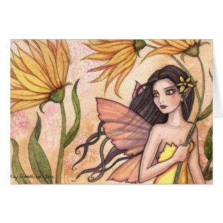 Gelbe Wildblume-Fee-Karte Karte