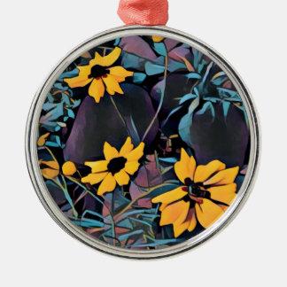 Gelbe wilde Blumen Rundes Silberfarbenes Ornament
